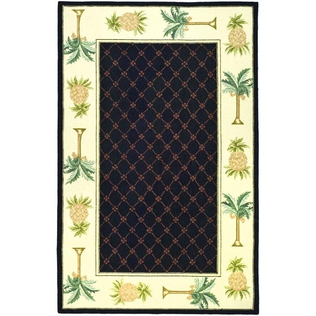 Safavieh Hand-hooked Pineapples Black Wool Rug (7'6 x 9'9)