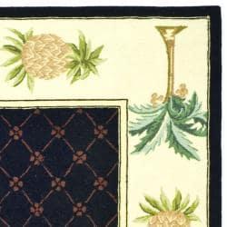 Safavieh Hand-hooked Pineapples Black Wool Rug (7'6 x 9'9) - Thumbnail 1