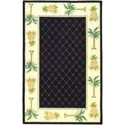 Safavieh Hand-hooked Pineapples Black Wool Rug - 7'6 x 9'9 - Thumbnail 0