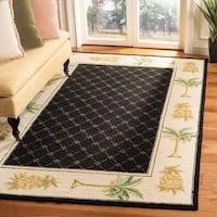 """Safavieh Hand-hooked Pineapples Black Wool Rug - 7'-9"""" x 9'-9"""""""