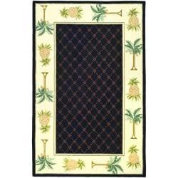 Safavieh Hand-hooked Pineapples Black Wool Rug (8'9 x 11'9)