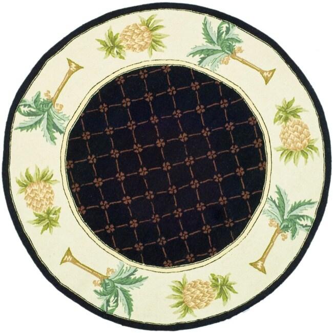 Safavieh Hand-hooked Pineapples Black Wool Rug (8' Round)