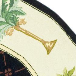 Safavieh Hand-hooked Pineapples Black Wool Rug (8' Round) - Thumbnail 1