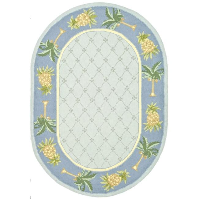 Safavieh Hand-hooked Pineapples Light Blue Wool Rug (4'6 ...