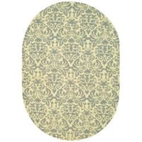 Safavieh Hand-hooked Chelsea Damask Beige Wool Rug (4'6 x 6'6 Oval) - 4'6 x 6'6
