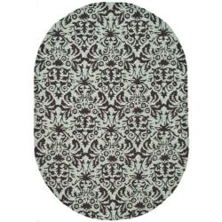 Safavieh Hand-hooked Chelsea Damask Sage Wool Rug - 4'6 x 6'6 - Thumbnail 0