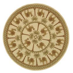 Safavieh Hand-hooked Camel Ivory/ Camel Wool Rug (8' Round)