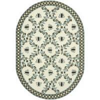 "Safavieh Hand-hooked Bumblebee Ivory/ Blue Green Wool Rug - 4'6"" x 6'6"" oval"