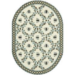 Safavieh Hand-hooked Bumblebee Ivory/ Blue Green Wool Rug (7'6 x 9'6 Oval)