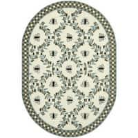 "Safavieh Hand-hooked Bumblebee Ivory/ Blue Green Wool Rug - 7'6"" x 9'6"" oval"