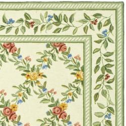 Safavieh Hand-hooked Garden Trellis Ivory Wool Rug (5'3 x 8'3) - Thumbnail 1