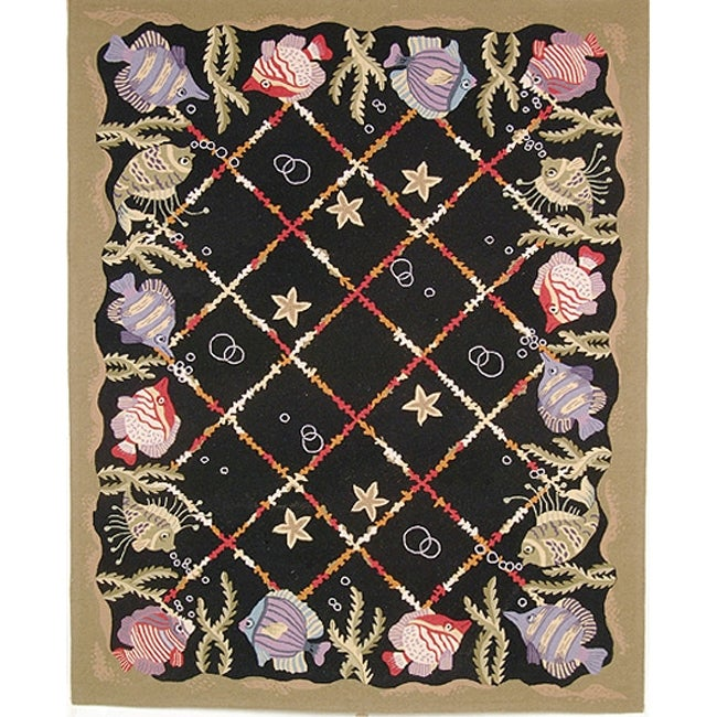 Safavieh Hand-hooked Gold Fish Black Wool Rug - 7'6 x 9'9