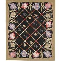 Safavieh Hand-hooked Gold Fish Black Wool Rug - 7'6 x 9'9