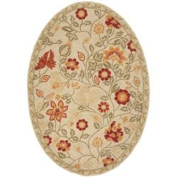 Safavieh Hand-hooked Eden Ivory Wool Rug (4'6 x 6'6 Oval)