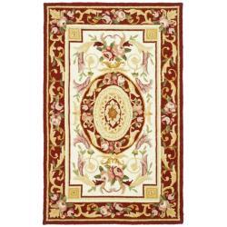 Safavieh Hand-hooked Aubusson Ivory/ Burgundy Wool Rug (2'9 x 4'9)