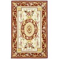 Safavieh Hand-hooked Aubusson Ivory/ Burgundy Wool Rug - 2'9' x 4'9'