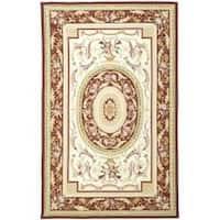 Safavieh Hand-hooked Aubusson Ivory/ Burgundy Wool Area Rug - 8'9 X 11'9