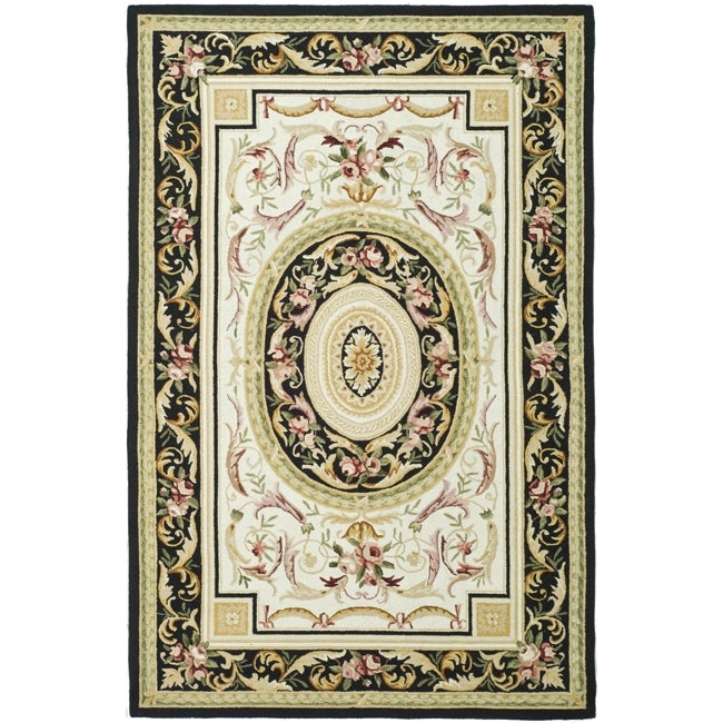 Safavieh Hand-hooked Aubusson Ivory/ Black Wool Rug (6' x 9') - Thumbnail 0