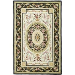 Safavieh Hand-hooked Aubusson Ivory/ Black Wool Rug (6' x 9')