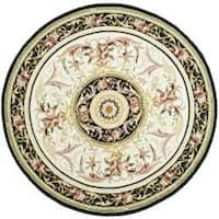 Safavieh Hand-hooked Aubusson Ivory/ Black Wool Rug - 3' x 3' Round