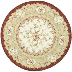 Safavieh Hand-hooked Aubusson Ivory/ Burgundy Wool Rug (3' Round)