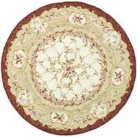 Safavieh Hand-hooked Aubusson Ivory/ Burgundy Wool Rug - 3' X 3' Round