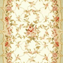Safavieh Hand-hooked Aubusson Ivory/ Burgundy Wool Rug (8'9 x 11'9) - Thumbnail 2