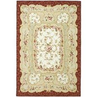 Safavieh Hand-hooked Aubusson Ivory/ Burgundy Wool Rug - 8'9 X 11'9