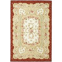 "Safavieh Hand-hooked Aubusson Ivory/ Burgundy Wool Rug - 8'-9"" x 11'-9"""