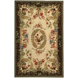 Safavieh Hand-hooked Rooster and Hen Cream/ Black Wool Rug (6' x 9')
