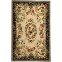 Safavieh Hand-hooked Rooster and Hen Cream/ Black Wool Rug - 6' x 9'