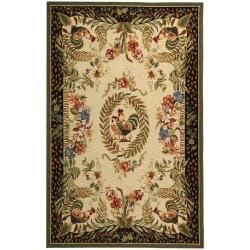 Safavieh Hand-hooked Rooster and Hen Cream/ Black Wool Rug (8'9 x 11'9)