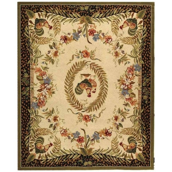 "Safavieh Hand-hooked Rooster and Hen Cream/ Black Wool Rug - 8'9"" x 11'9"""