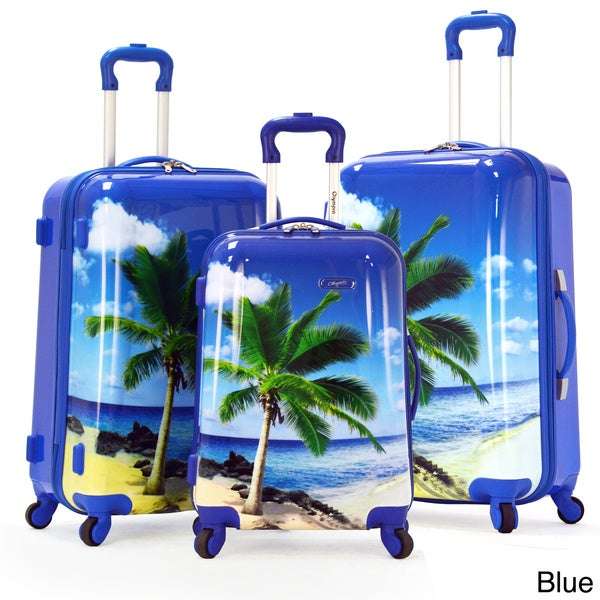 Olympia Palm Beach 3 Piece Printed Hardside Spinner