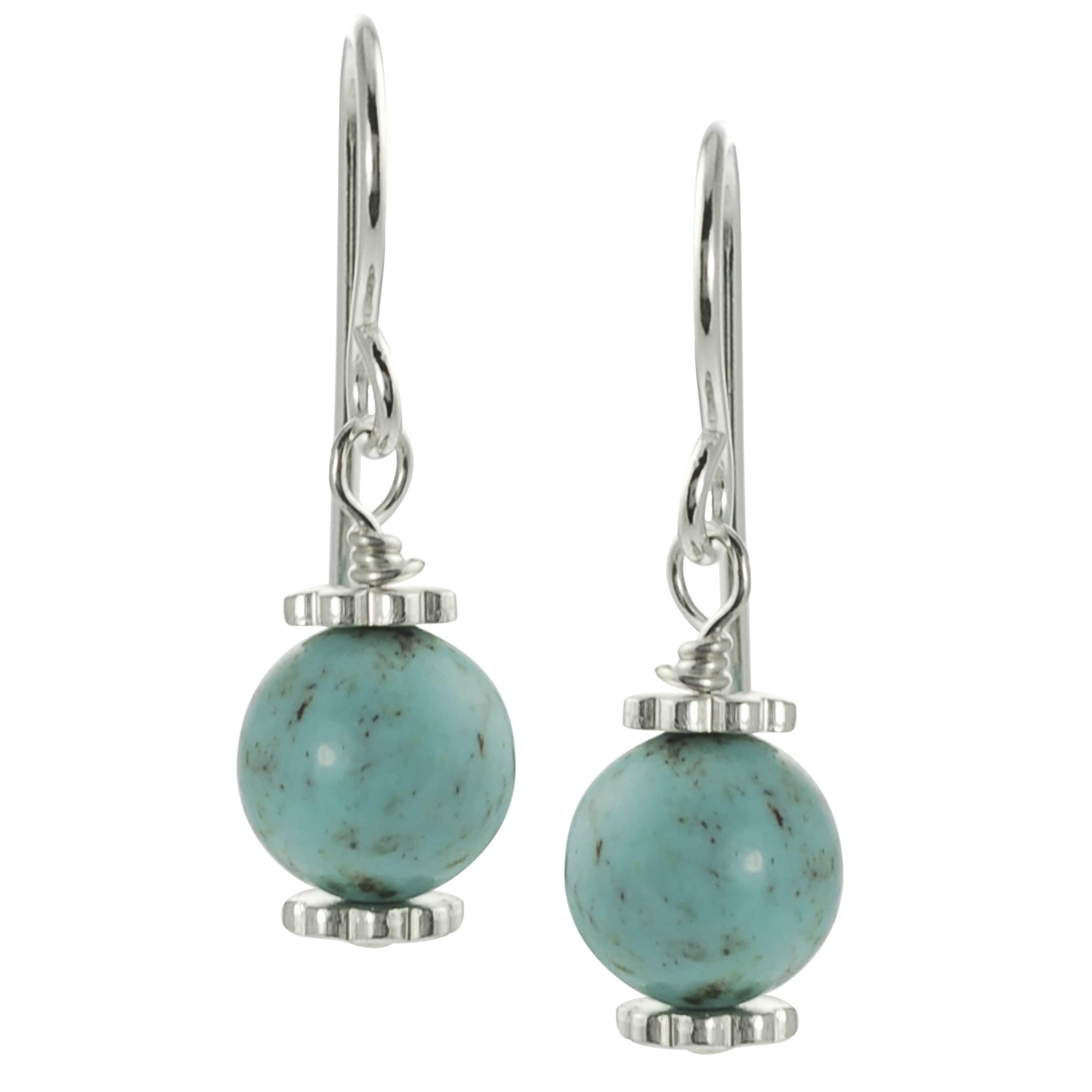 Journee Sterling Silver Genuine Turquoise Bead Dangle Earrings