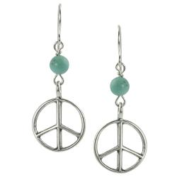 Journee Collection Sterling Silver Genuine Turquoise Peace Sign Earrings