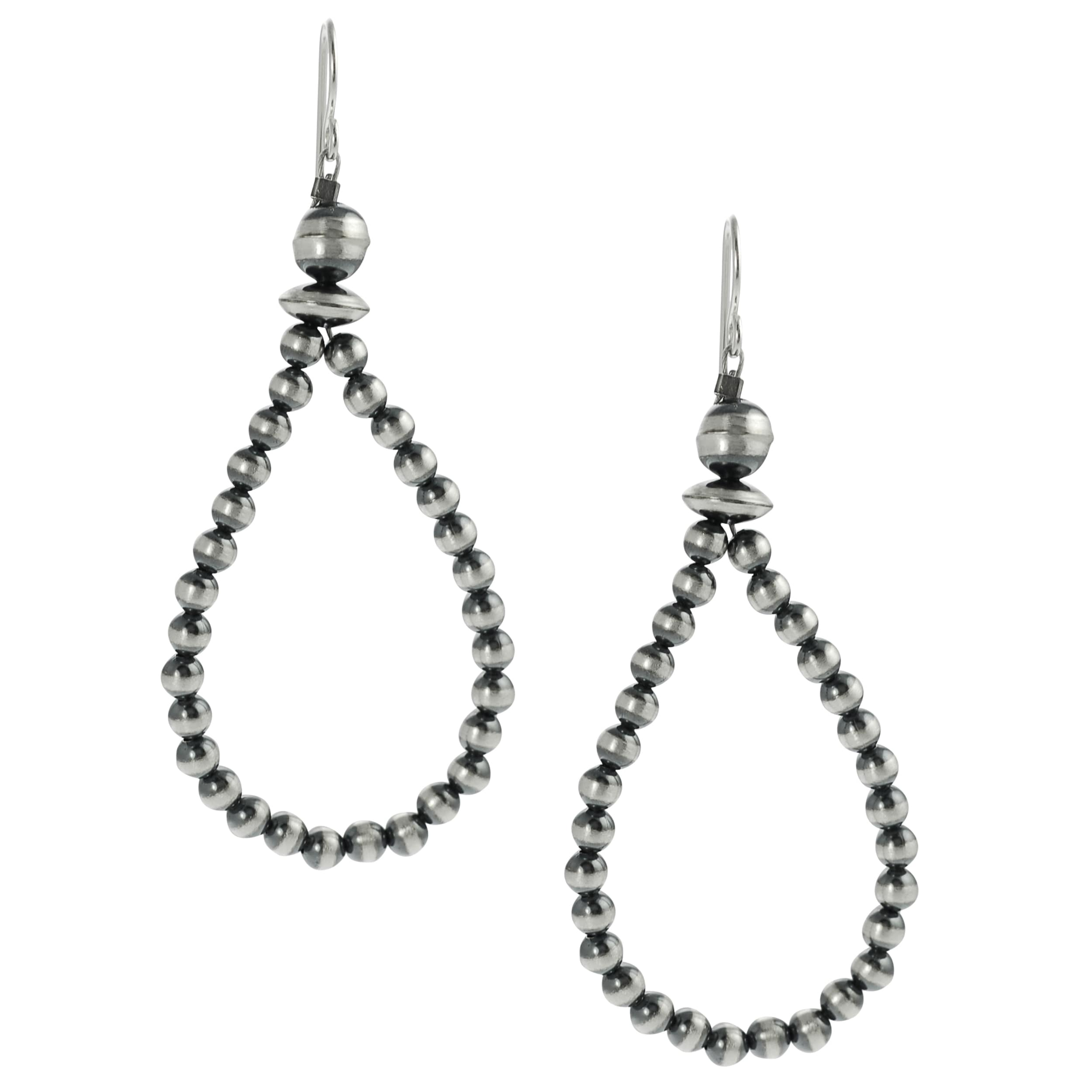 Journee Collection Rhodium-plated Sterling Silver Brushed Bead Earrings