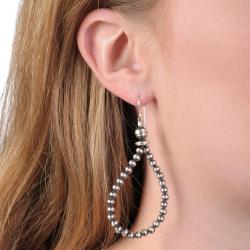 Journee Collection Rhodium-plated Sterling Silver Brushed Bead Earrings - Thumbnail 2
