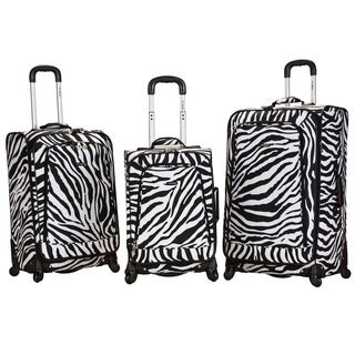 Rockland Deluxe Zebra Three-piece Expandable Spinner Upright Luggage Set