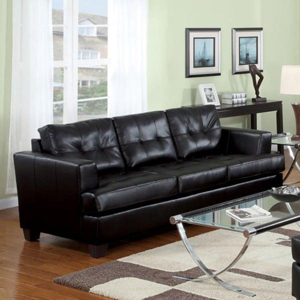 Diamond Black Synthetic Leather Sofa