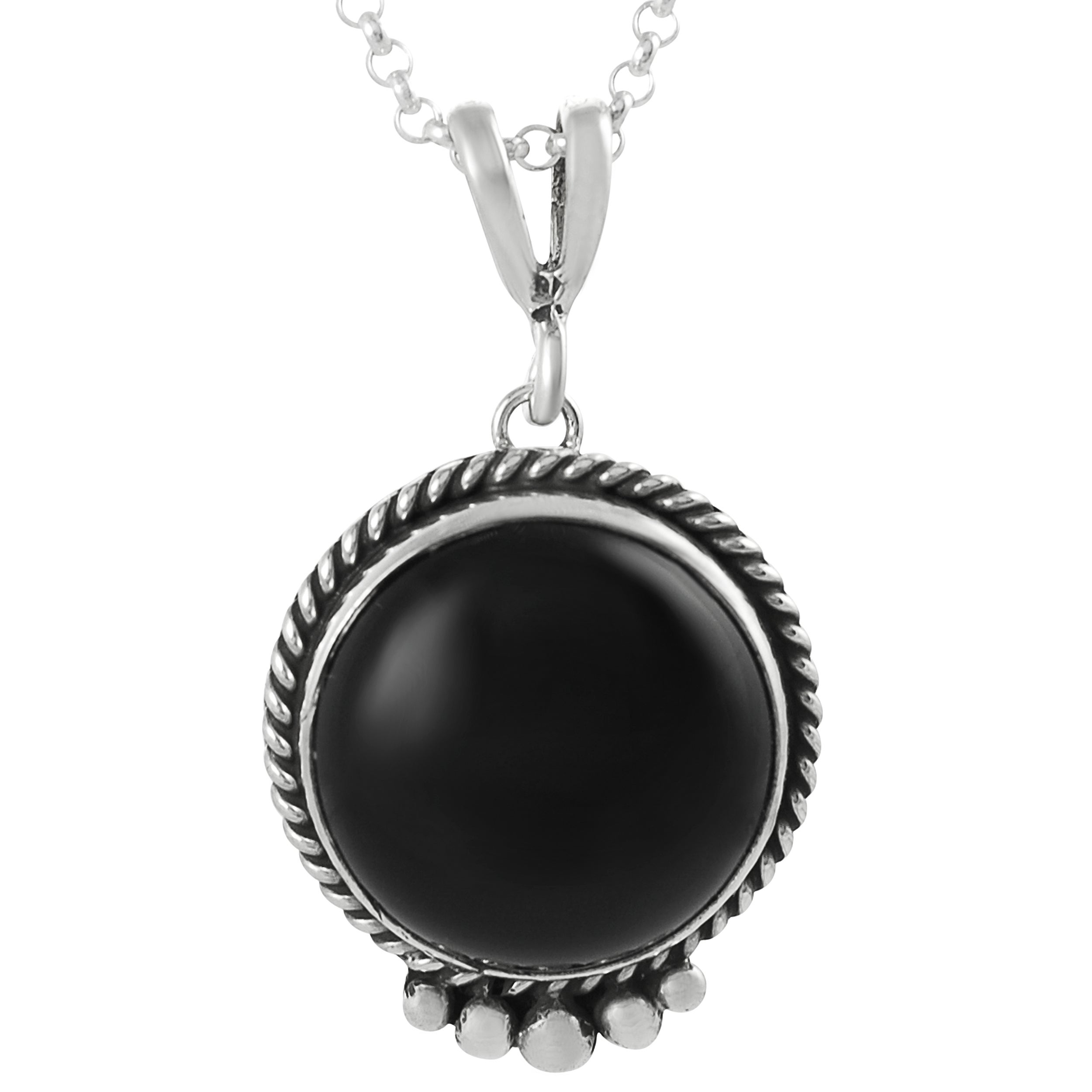 Journee Sterling Silver Black Onyx Handcrafted Necklace