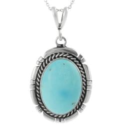 Journee Collection Sterling Silver Genuine Turquoise Necklace