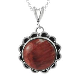 Journee Collection Sterling Silver Red Spiny Oyster Shell Stone Vintage Necklace