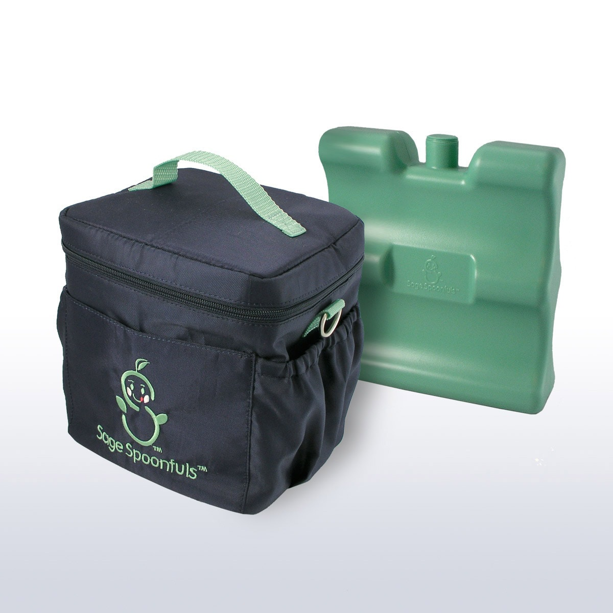 Sage Spoonfuls On-the-Go Green and Navy Cooler with Freezer Pack