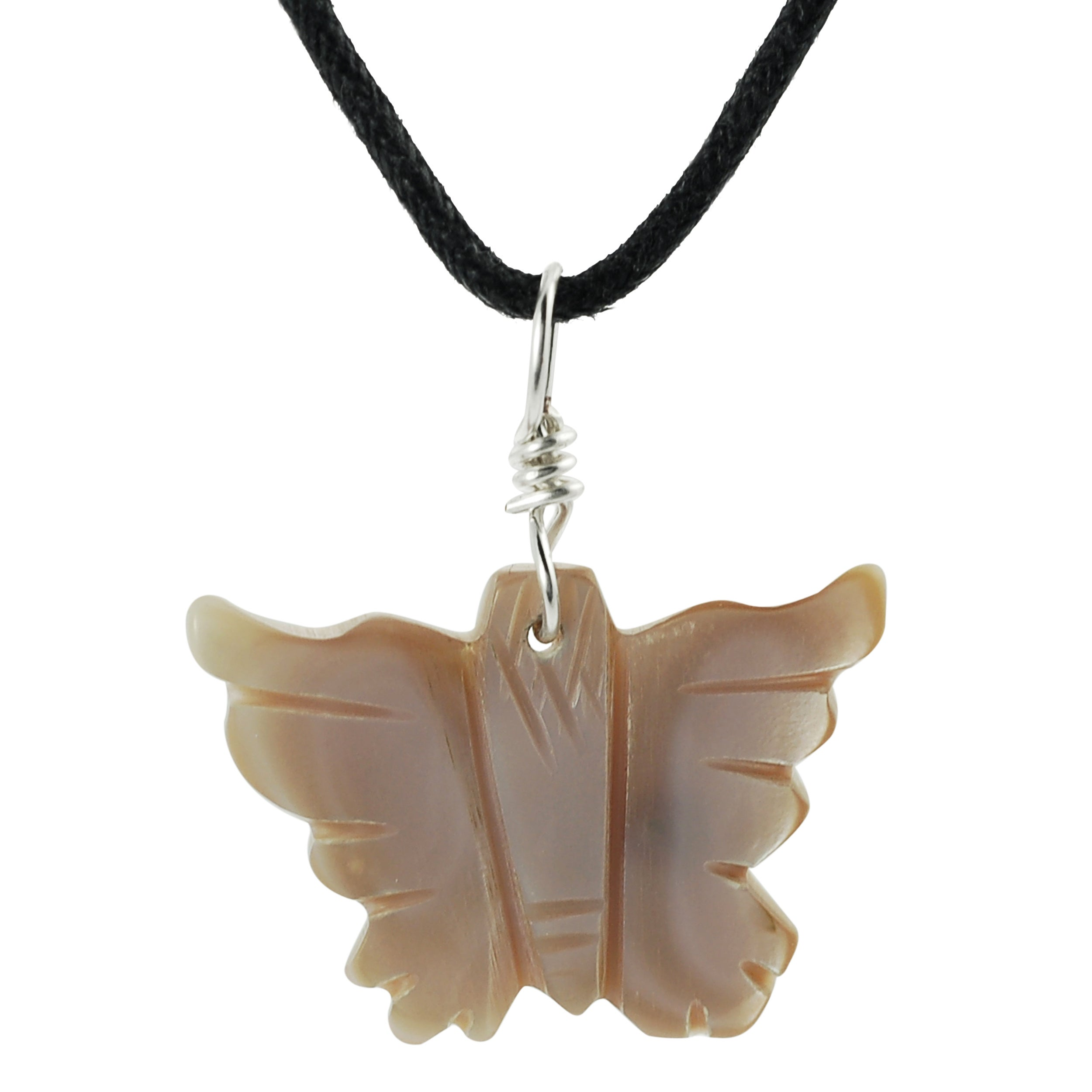 Journee Collection Sterling Silver Pink Mother of Pearl Butterfly Necklace
