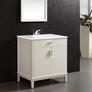 Wyndenhall Windham Soft White 2 Door 30 Inch Bath Vanity Set With Bottom Drawer And White Quartz