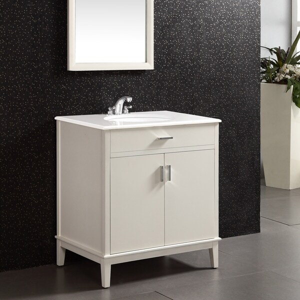 WYNDENHALL Oxford 30 inch Contemporary Bath Vanity in Soft White with White Engineered Quartz Marble Top