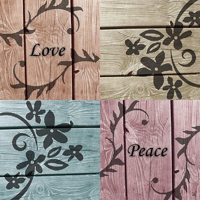 Ankan 'Love and Peace' Gallery-wrapped Canvas Art