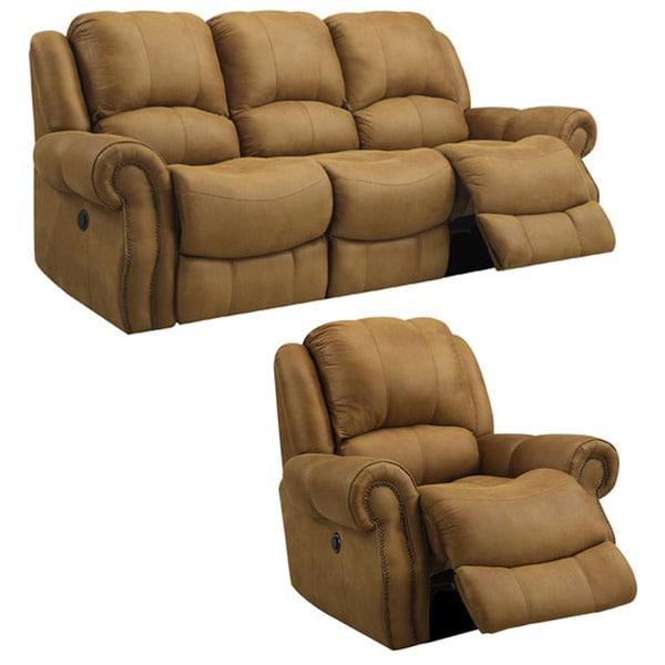Buckskin Brown Reclining Sofa and Recliner/Glider Chair