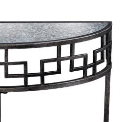 Antique Silver Finish Accent Table with Mirrored Top